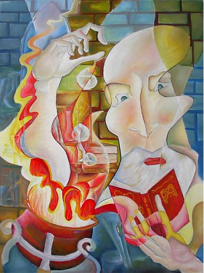 """Tablou modern ulei pe panza""""Alchimistul"""", 200 x 140cm, pictat manual de DOBOS"""