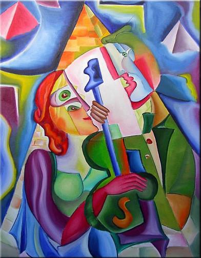 """Tablou modern abstract gata de inramat """"Iubire"""", 60 x 80 cm, pictat manual de DOBOS"""