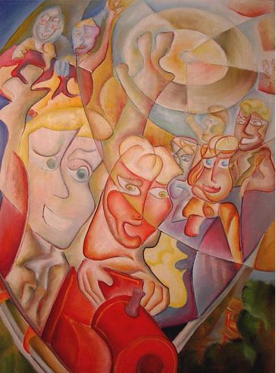 "Tablou modern gigant ""Roller Coaster"", 200x140cm, pictat manual de DOBOS"