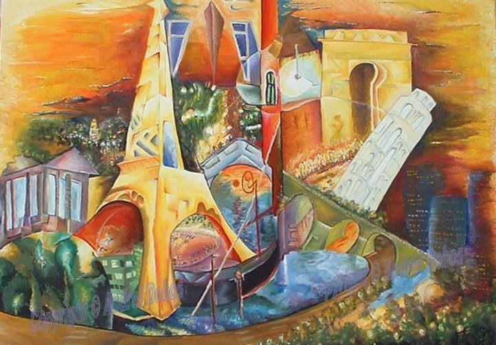 "Tablou peisaj modern abstract ""Europa"", 140 x 200cm, pictat manual de DOBOS"