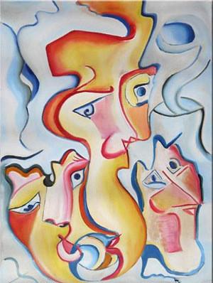 """Tablou abstract gata de inramat """"Vise"""", 45x60cm, pictat manual de DOBOS"""