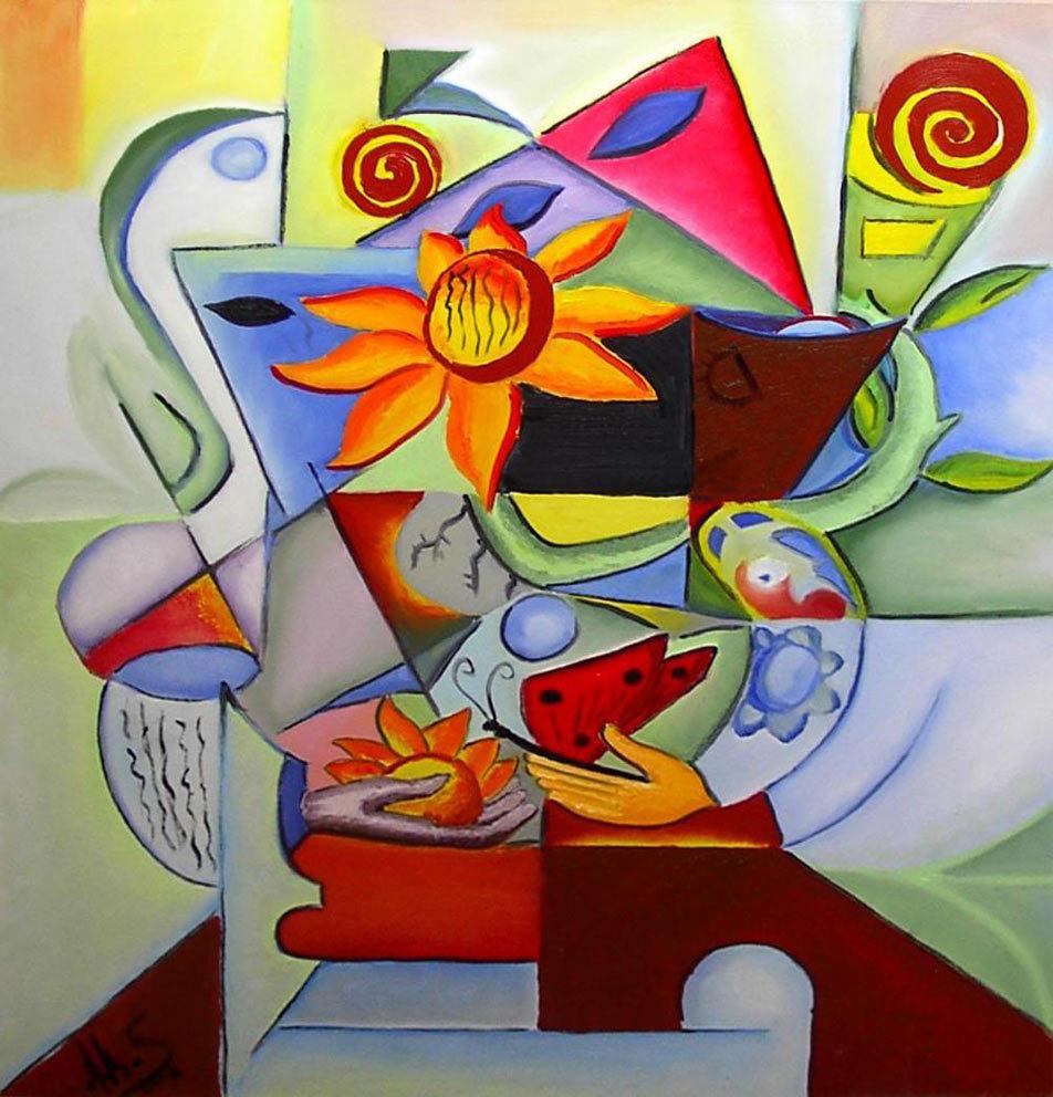 """Tablou peisaj abstract gata de inramat """"Metarmofoza Florala"""", 80x60cm, pictat manual de DOBOS"""