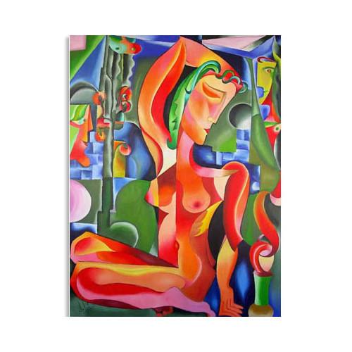 """Tablou nud abstract """"Nud Rosu"""",120x90cm, pictat manual de DOBOS"""