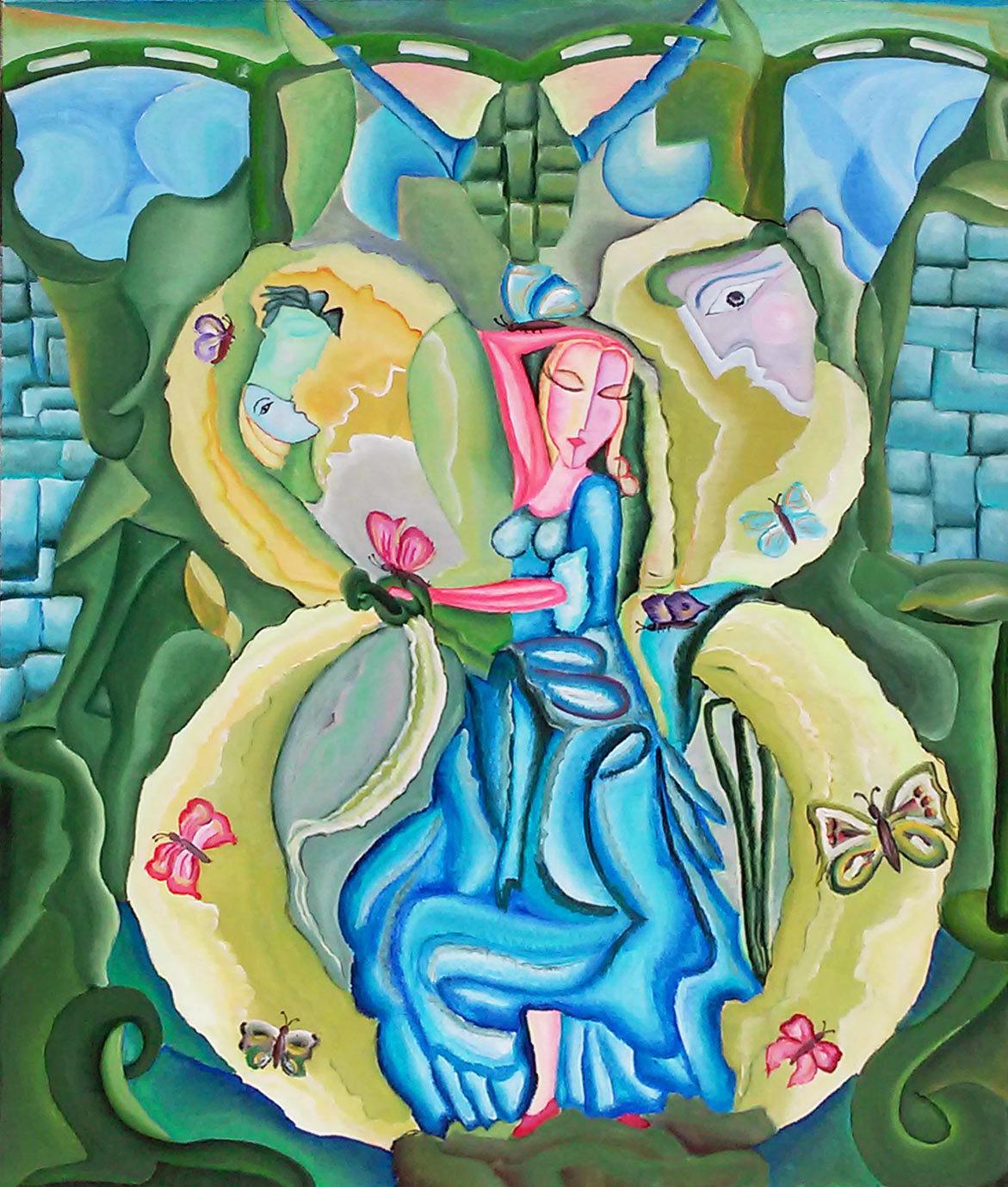 """Tablou modern contemporan, gata de inramat """"Regina Fluturilor"""",80 x 100cm, pictat manual de DOBOS"""
