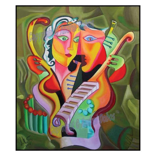 """Tablou modern """"Iubire armonica"""", 60 x 80 cm, pictat manual de DOBOS"""