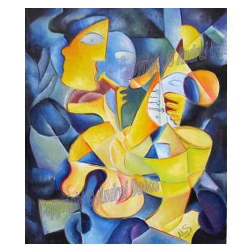 """Tablou modern """"Ritmuri inghetate"""", 70x60cm, pictat manual de DOBOS"""