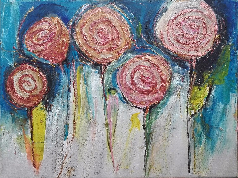 """Tablou abstract floral """"Trandafiri salbatici"""" gata de inramat de DOBOS"""