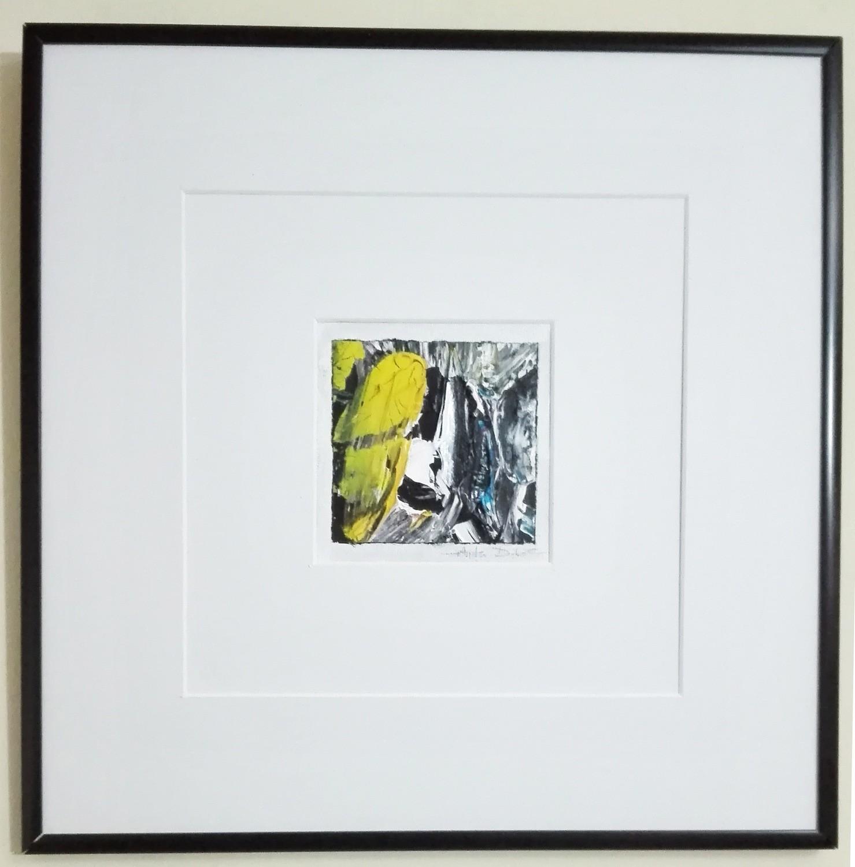 """Tablou abstract cu rama tehnica impasto """"Compozitie VI"""" de DOBOS"""