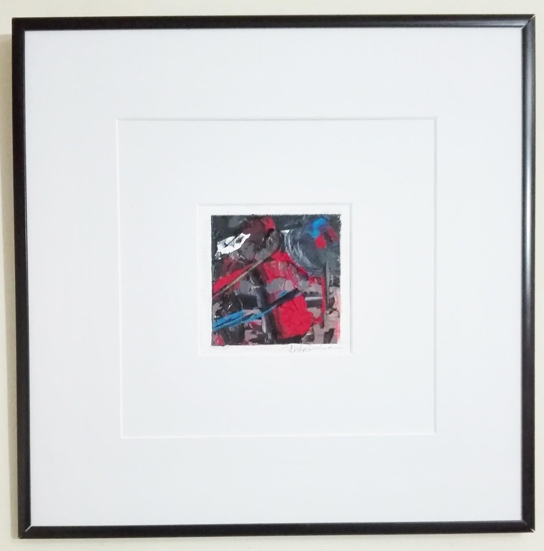"Tablou abstract cu rama tehnica impasto ""Compozitie VIII"" de DOBOS"