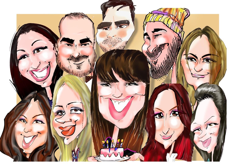 Caricatura digitala color de grup