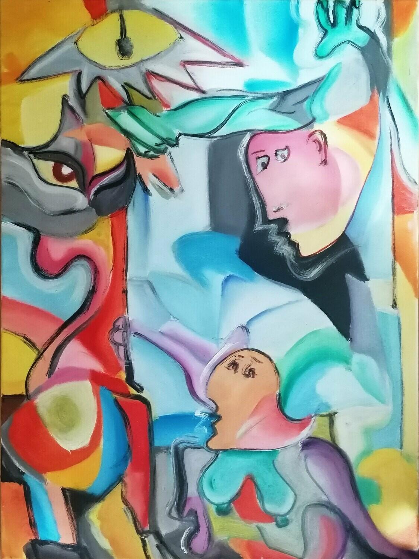 "Tablou modern ""PEGASUS"", 70x50cm, pictat manual de DOBOS"