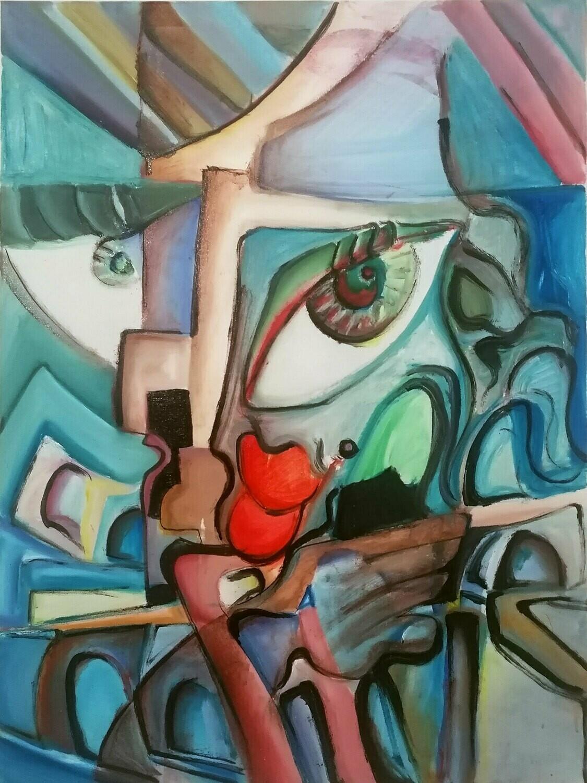 """Tablou modern """"DECONSTRUCTIE"""", 80x60cm, pictat manual de DOBOS"""