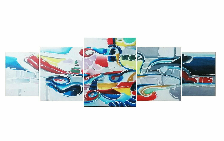 "Tablou modern 5in1 ""INFINIT"", 120x40cm, pictat manual de DOBOS"