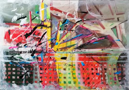 """Tablou modern 5in1 """"SPLASH"""", 100x70cm, pictat manual de DOBOS"""