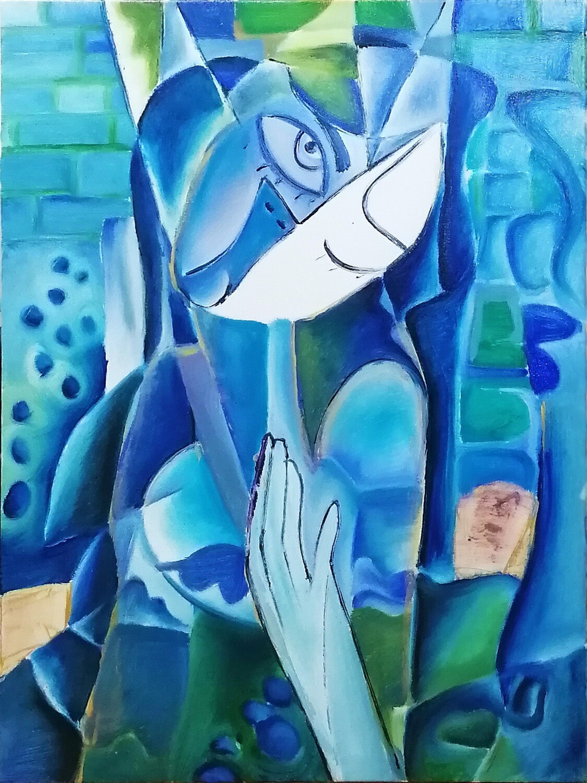 "Tablou modern pictat manual ""MOMENT ALBASTRU"", 80 x 60 cm de DOBOS"