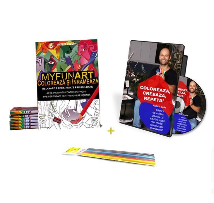 Curs video 7 TEHNICI DE COLORAT + Carte Colorat MYFUNART + Set 6 creioane COLORATE