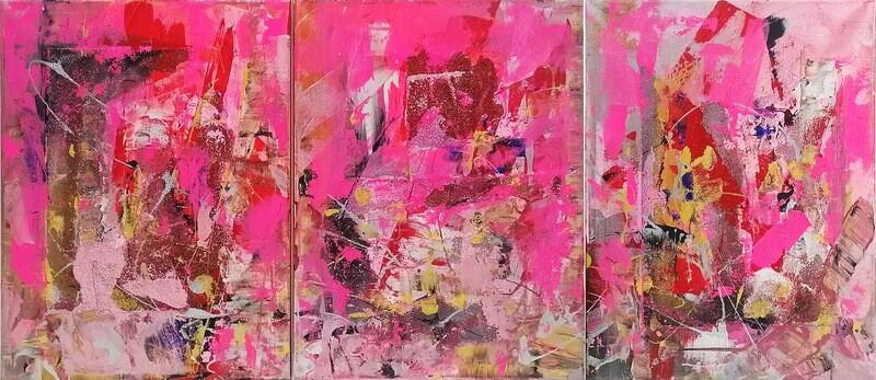 "Set 3 tablouri moderne ""Joc roz"", 40 x 120cm, pictat manual de DBS"