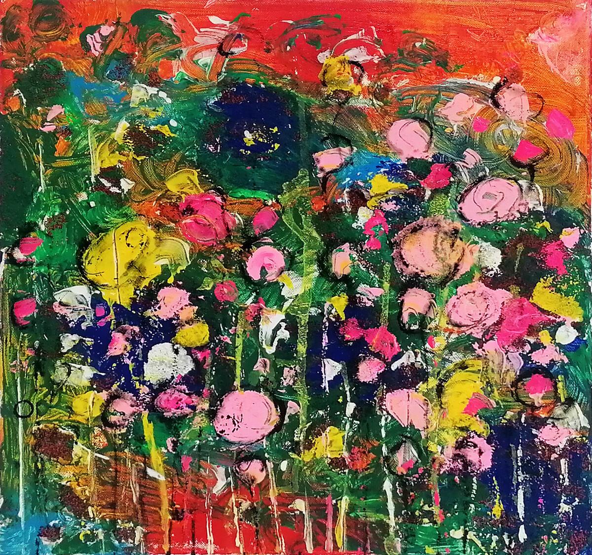"""Tablou floral abstract modern """"Gradina inflorita"""" de DBS"""