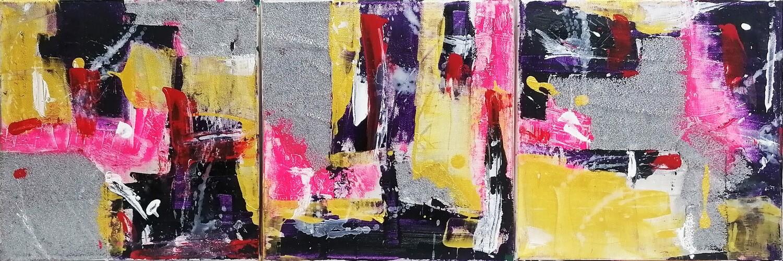 """Set 3 tablouri moderne """"emotii violet"""", 30 x 90cm, pictat manual de DOBOS"""