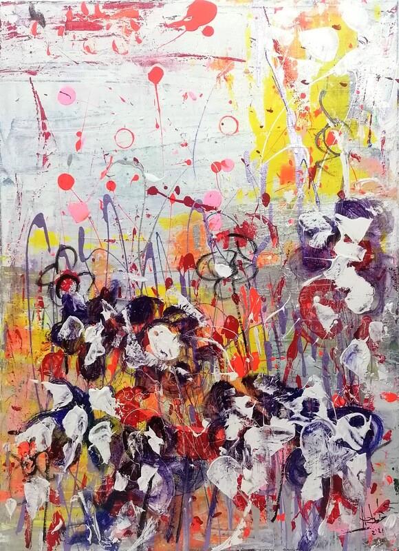 "Tablou abstract ""Flori de primavara"" de DBS"