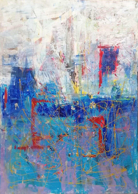 "Tablou abstract ""Trafic de seara"" de DBS"