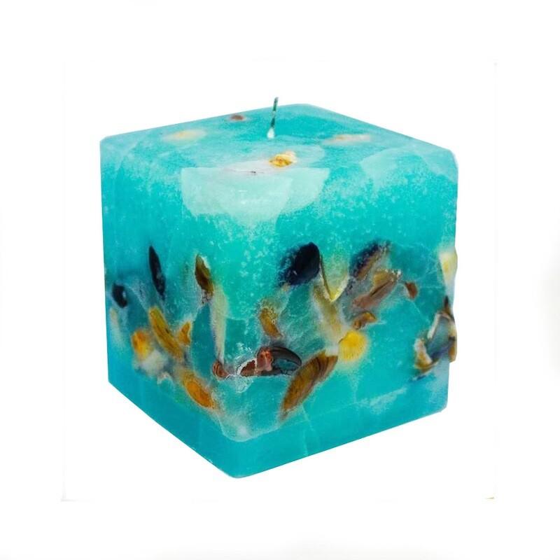 Lumanare decorativa Cub Maritim, parfumata, albastru maritim