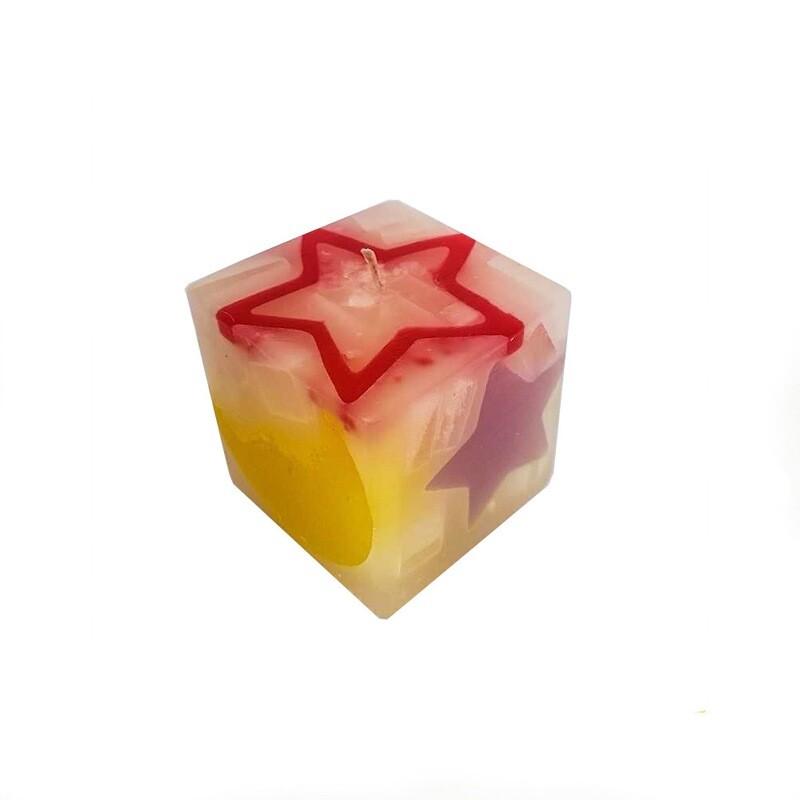 Lumanare decorativa Cub Stele, parfumata, multicolor