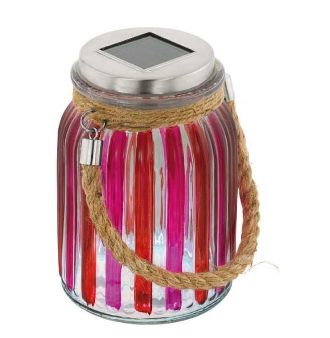 Lampa solara exterior, LED, rosu roz