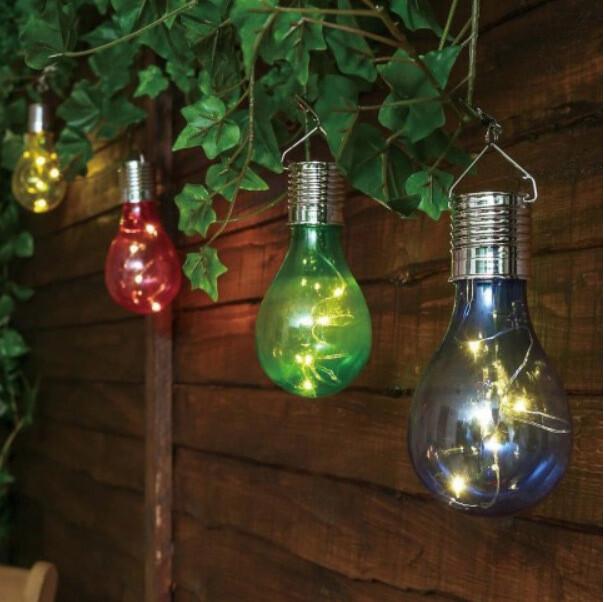 Lampa solara bec, microLED, multicolor