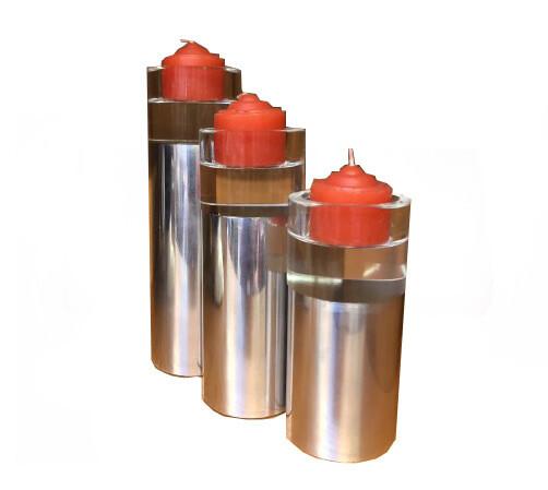 Set 3 suporti lumanari, cilindrici, metal si sticla