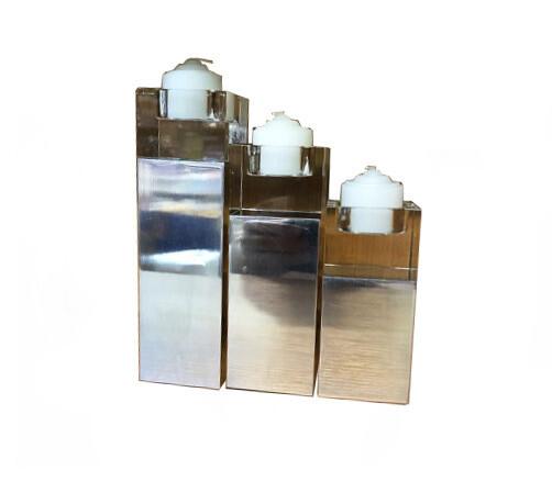 Set 3 suporti lumanari, dreptunghi, metal si sticla