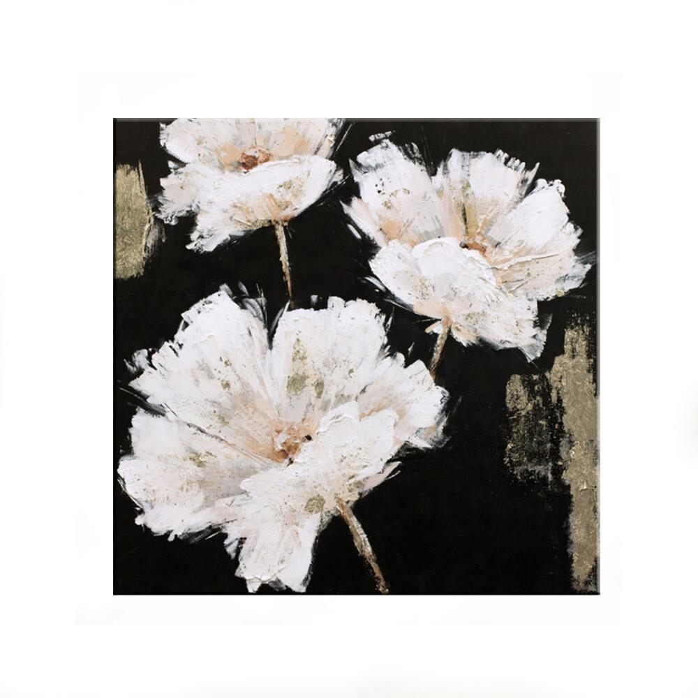 "Tablou modern ""Flori albe"", 80 x 80cm, pictat manual, tehnica mixta"