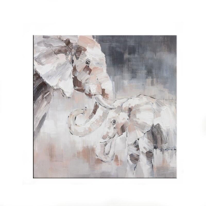 """Tablou modern """"Regatul elefantilor"""", 80 x 80cm, pictat manual, tehnica mixta"""