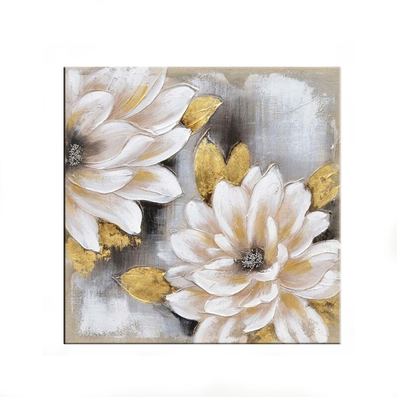 """Tablou modern """"Flori de metal"""", 80 x 80cm, pictat manual, tehnica mixta"""