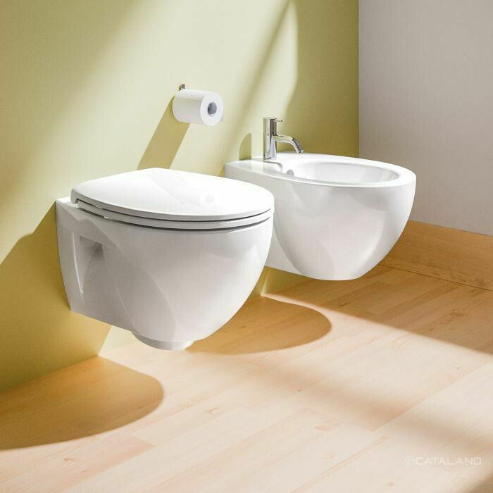 CATALANO - NEW LIGHT SET SOSPESO FILO MURO BIDET + VASO CON BRIDA C/COPRIVASO