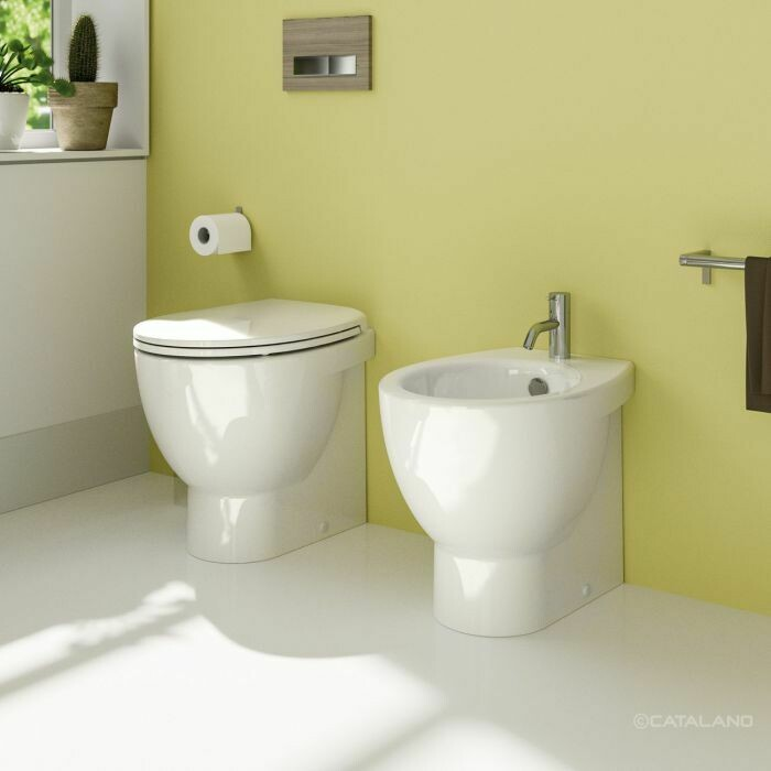CATALANO - NEW LIGHT SET A TERRA FILO MURO BIDET + VASO CON BRIDA C/COPRIVASO