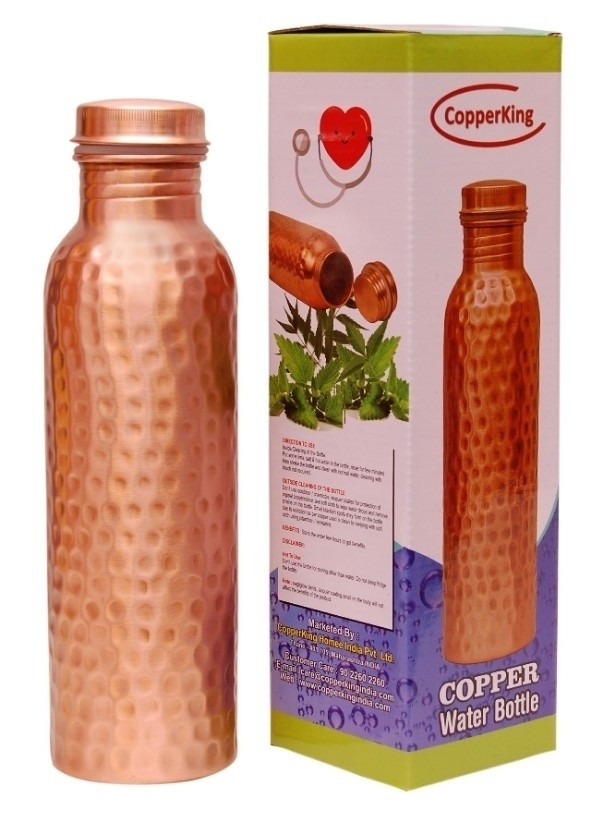 Pure Copper Hammered Drink Water Bottle 950ml