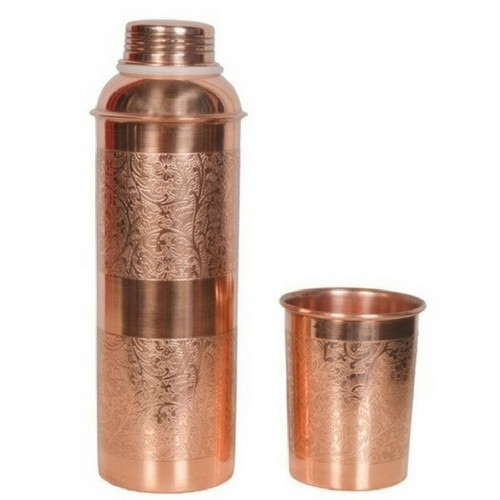 CopperKing Embossed Copper Water Bottle With One Glass