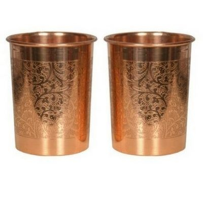 CopperKing Embossed Pure Copper Glasses Set Of 2