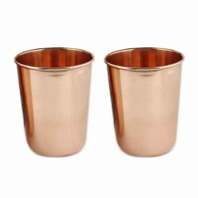 CopperKing Plain Pure Copper Glasses Set Of 2 |  Drink Water In  Copper Glass For Your Live Healthy Life