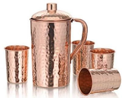 CopperKing Hammered Pure Copper Jug 1250ml With 4 Glass Water
