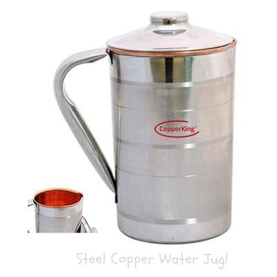 CopperKing Steel Copper Jug 1250ML, Water Drinking in Copper Vessel