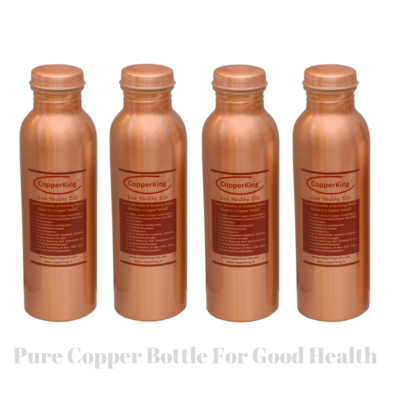 CopperKing Pure Copper Laquer Water Bottle 950ml (Set of 4)