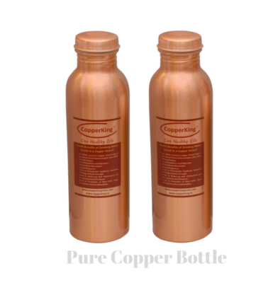 CopperKing Pure Copper Laquer Water Bottle 950ml (Set of 2)