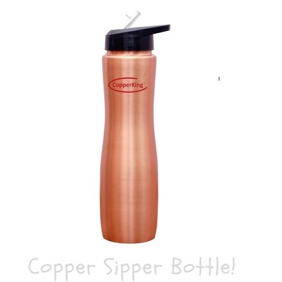 CopperKing Copper Sipper Water Bottle 1000ml, Best For Yoga/Sports.