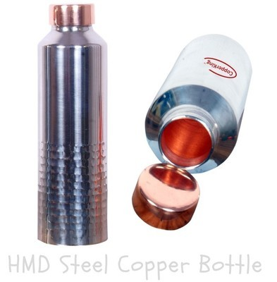 CopperKing Steel Copper Half Hammered Design Water Bottle 900ml.