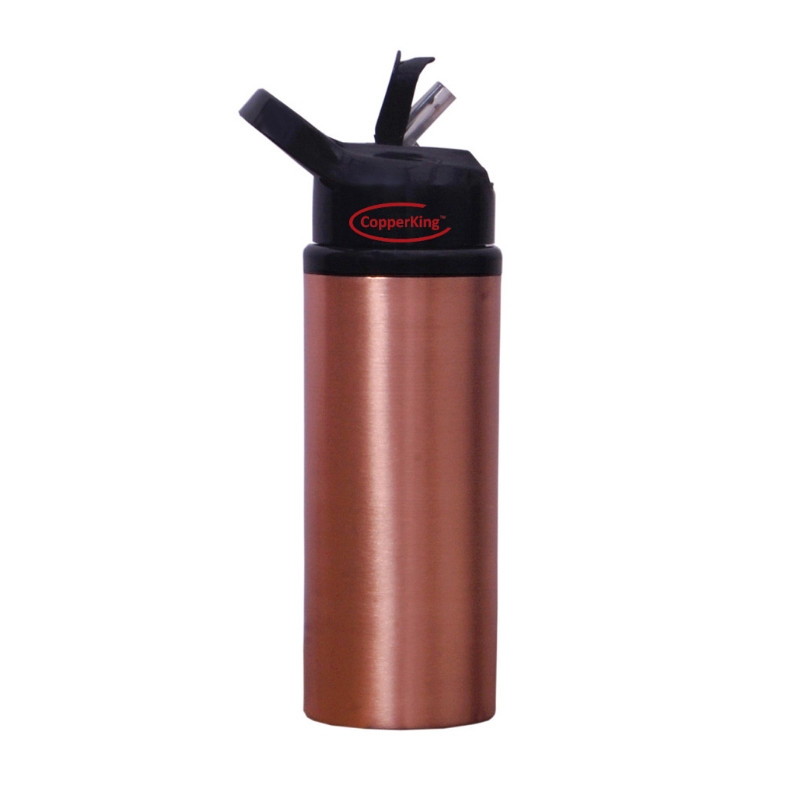 CopperKing Copper Sipper Water Bottle 600ml, Best For Yoga/Sports.