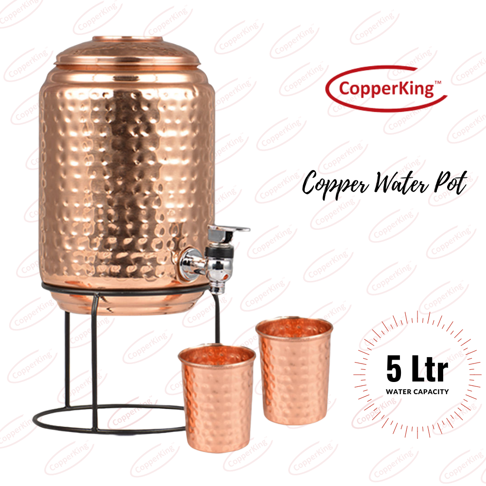 CopperKing Pure Copper Hammer Matka/ Pot 5Ltr With Stand & Two Glasses Combo Set