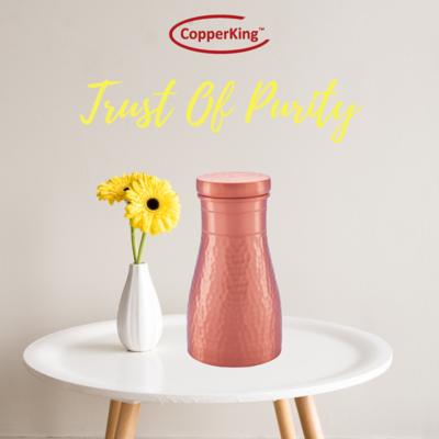 Copperking Pure Copper Table Water Pot 1.1Ltr, Water Drinking in Copper Vessel