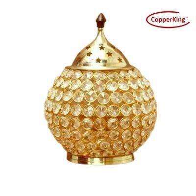 CopperKing Crystal Akhand Jyoti Oil Brass Diya, Oil Puja Lamp for Pooja Articles Decor, Home & Festival Decor | Small, Medium and Larg Size Deep with Lid (No. 5 )